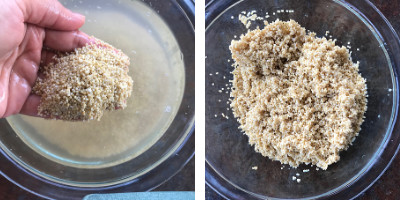 millets saoked in water and drained