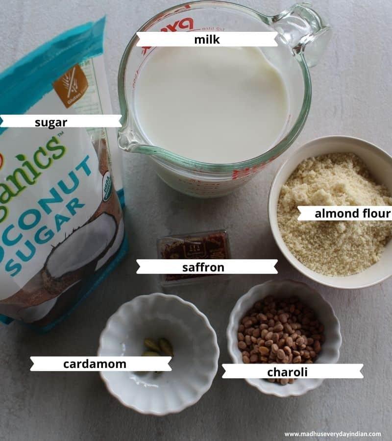 picture of ingredients needed to make badam milk