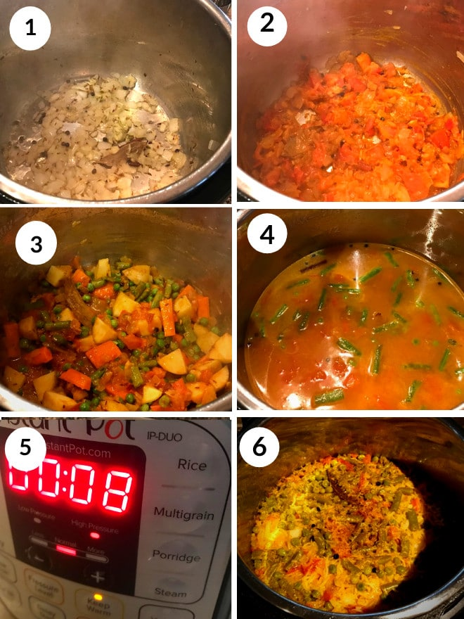 cooking khichdi in the instant pot by sauteeing onion and spices, vegetables, dal and rice and cooking for 8 minutes.