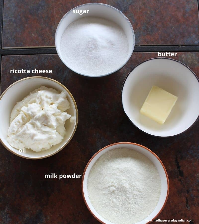 ingredients needed to indian milk cake are sugar, milk powder, ricotta cheese and buuter
