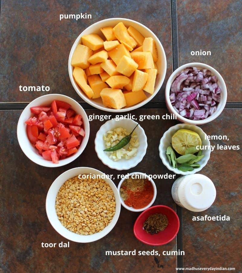 list of the ingredients needed to make pumpkin dal