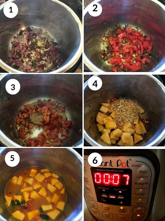cooking onion, spices, tomato, pumkin and toor dal in the instant pot
