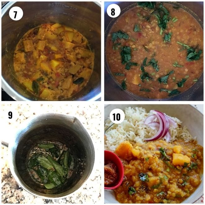to the cooked pumpin dal  temepring with mustard and curry leaves is added and served with rice.