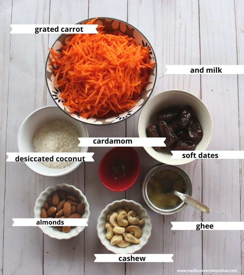 ingredients needed to amke carrot ladoo are carrots, coconut, cashew, almonds, ghee, cardamom and milk
