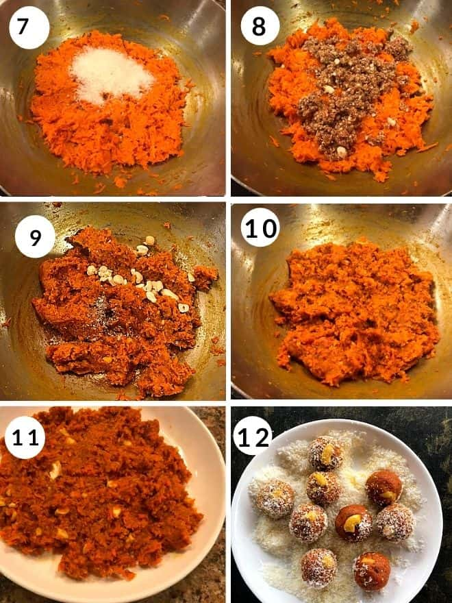 desiccated coconut and ground nuts and dates are added to the cooked carrots. Finally cardamom and cashew are added to the ladoo and coated with dessicated coconut.