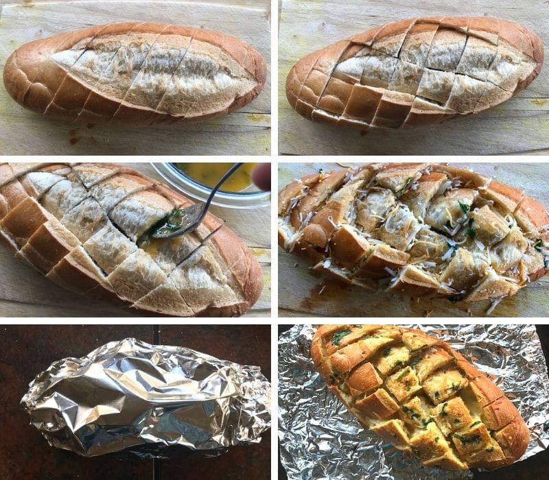 frensch bread is stuffed with garlic butter and cheese, wrapped in a foil and baked till crispy and cheese has melted