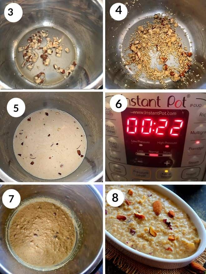 roasted quinoa and nuts cooked with milk and sugar in the instant pot for 22 minutes