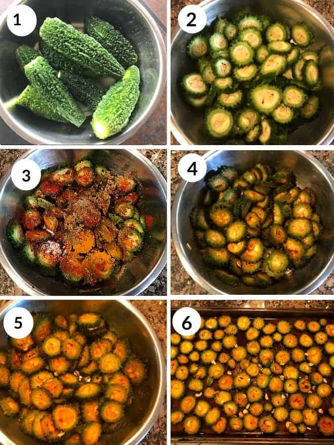 washed karela, cut to thin slices and coated with spices and rested for 20 minutes. marinated karela placed in a pan ready to be baked.