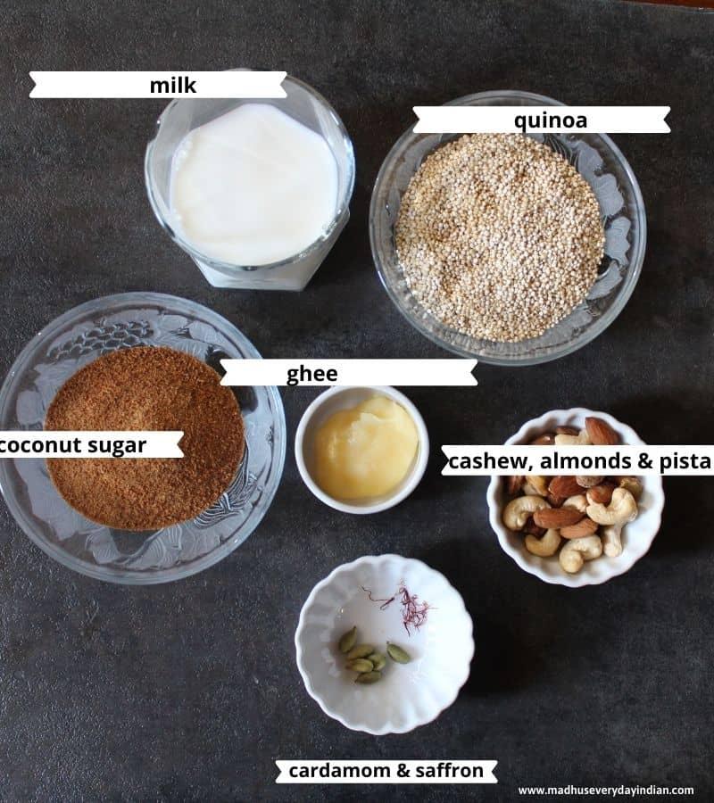 ingredients needed to make quinoa kheer