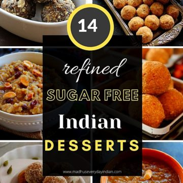 collage of 6 indian desserts which are refined sugar free - nuts ladoo, wheat ladoo, sweet pongal, oats ladoo, almond ladoo and moong dal payasam