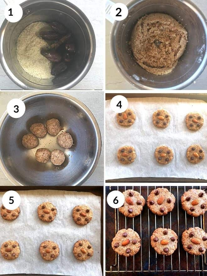 almond flour and dates blended in a mixer and rolled to make cookies. Topped with almonds and chocolate chip and baked till done.
