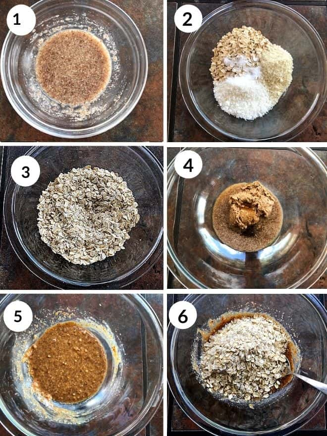 1- flax egg, 2 &3 - dry ingredeints mixed, 4 & 5- wet ingredients mixed, 6 - wet and dry ingredients added together