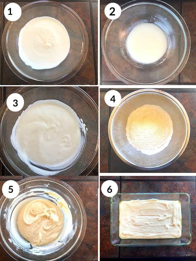 different steps to make the vanilla sponge cake batter