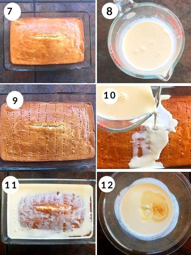 baked vanilla sponge cake pricked with forka dn soaked in 3 different milks. the last pic is cream to make whipped cream