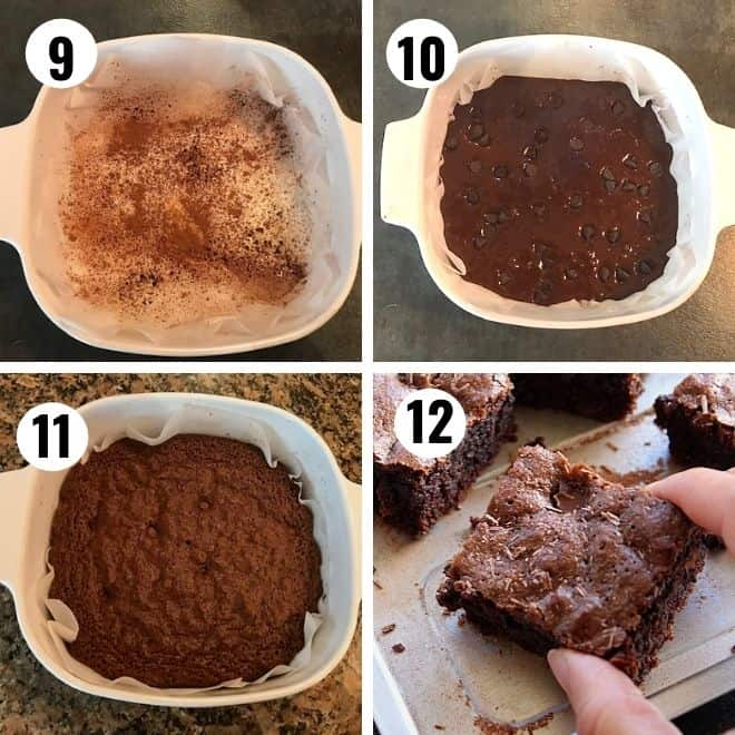 batter transferred to a baking dish and baked till done.  pic 12 enjoying a slice of the brownie.