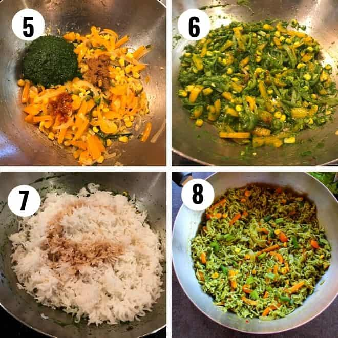 5, 6 -add pureed spinach, coriander, chili sauce. garam masala and cook. 7 , 8 - add rice and soy sauce and stir fry the rice