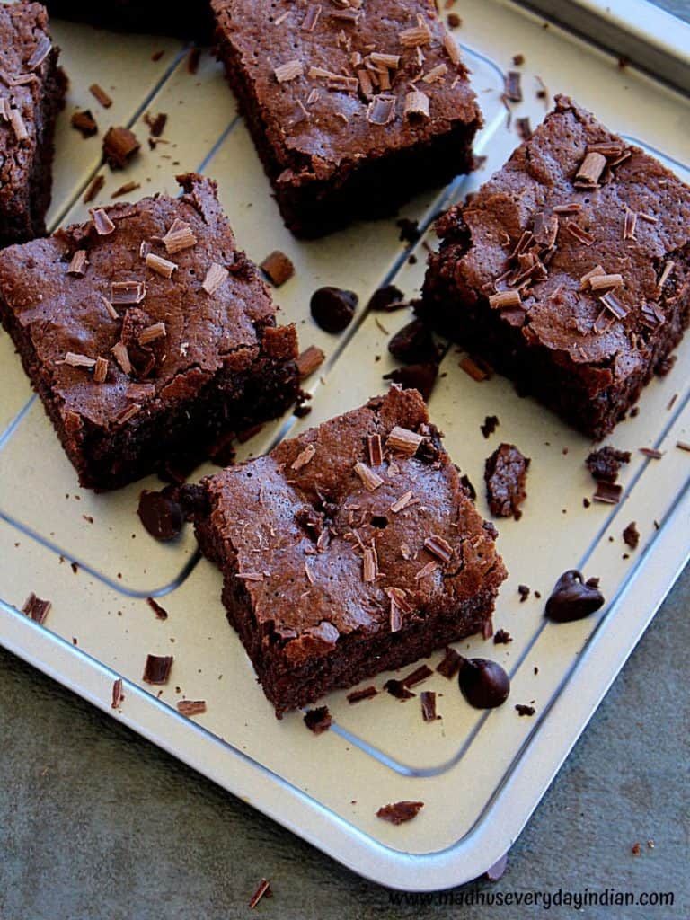 almond flour brownie pieces garnished with shaved chocolate