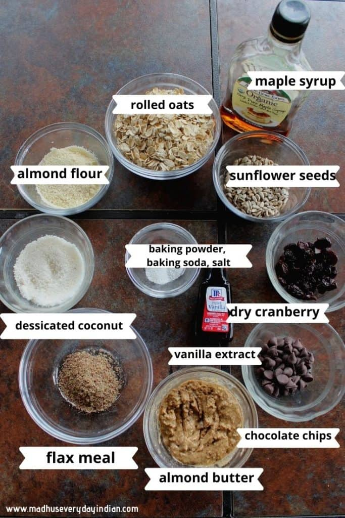 picture of all the ingredients needed to make vegan breakfast cookies