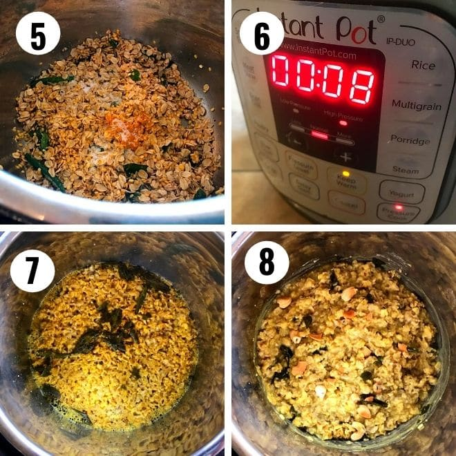 moong dal and oats picture cooked for 8 minutes in the insatnt pot till soft