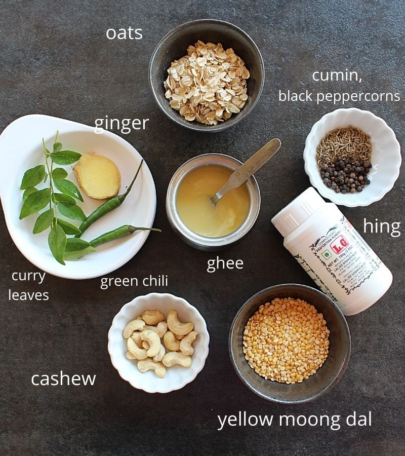 picture of all the ingredients needed to make oats pongal