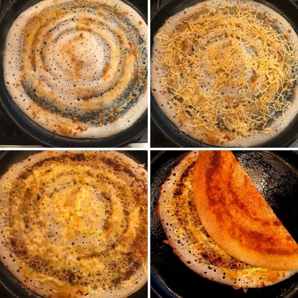 making dosa with chili sauce and cheese in a cast iron skillet