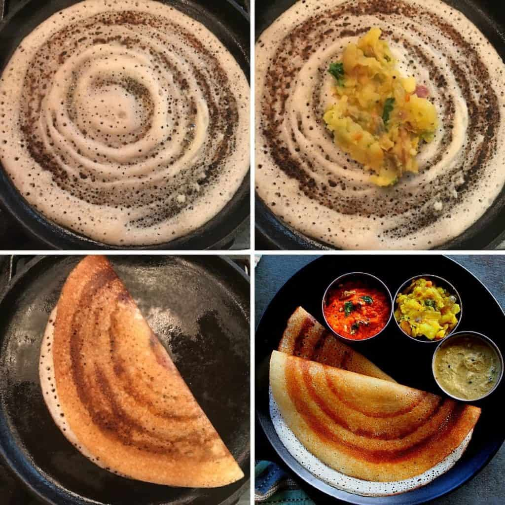 making dosa in a cast iron griddle, added potato masala and served with chutney