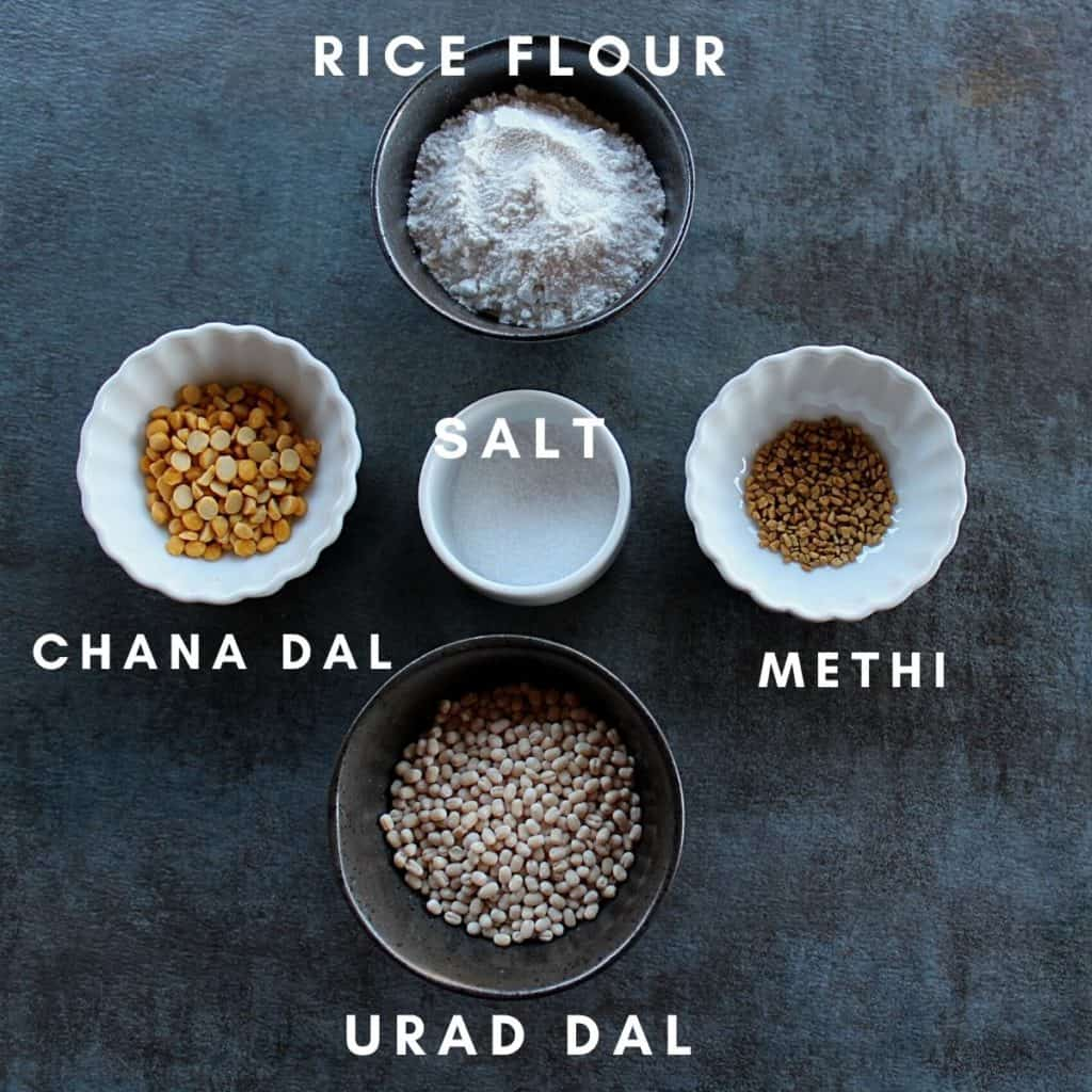 pic of the ingredients need to make rice flour and urad dal dosa
