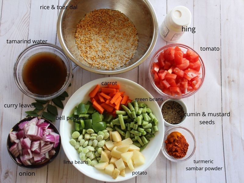 picture of all the ingredients needed to make sambar rice