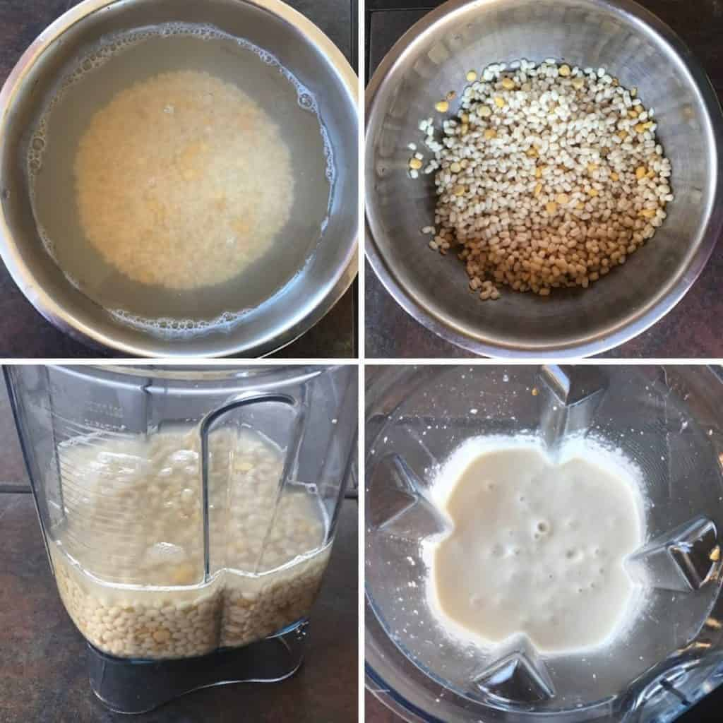 saoked urad dal is ground to a smooth paste in vitamix