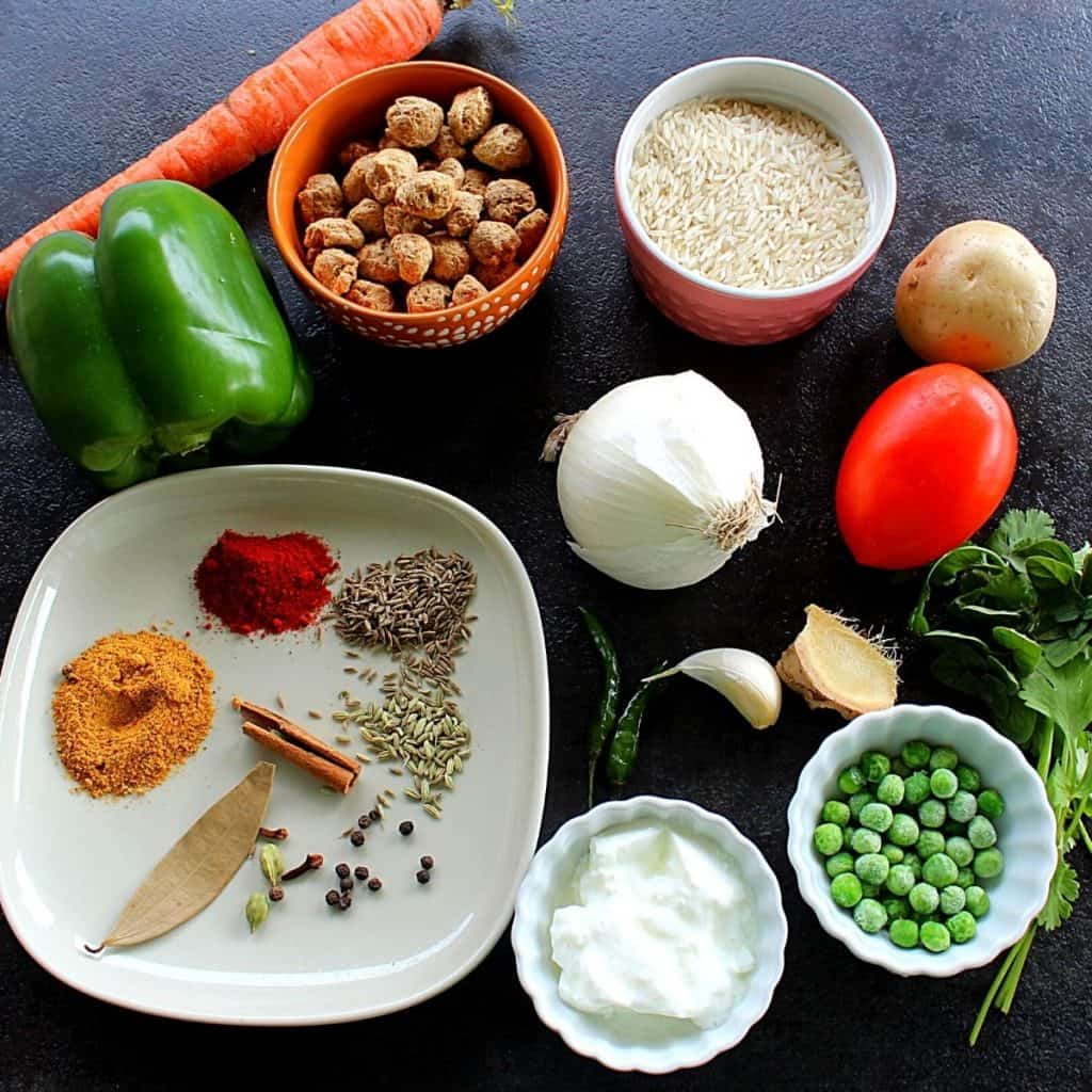picture of the ingredients needed to make soya biryani