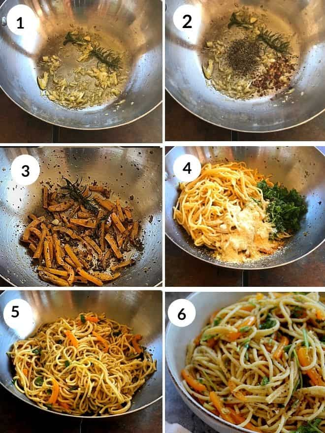 sautéing garlic in olive oil and italain seasoning, red chili flakes and orange bell pepper are sauteed. Cooked spaghetti, parmesan cheese and parsley are added to the garlic oil and mixed and served.