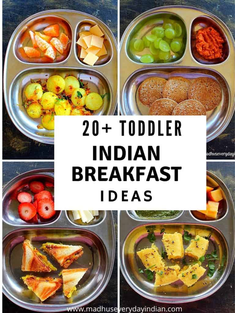 4 pic collage of indian toddler breakfast recipes
