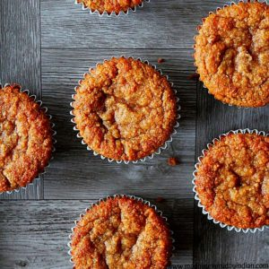 almond flour banana muffins arranged in a surface