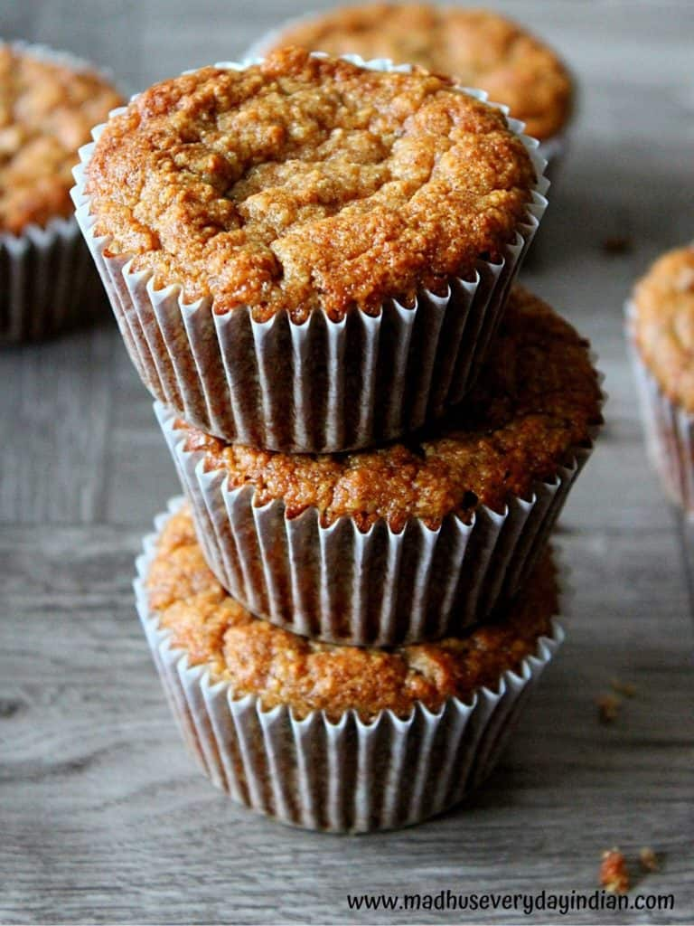 stacked almond flour banana muffins