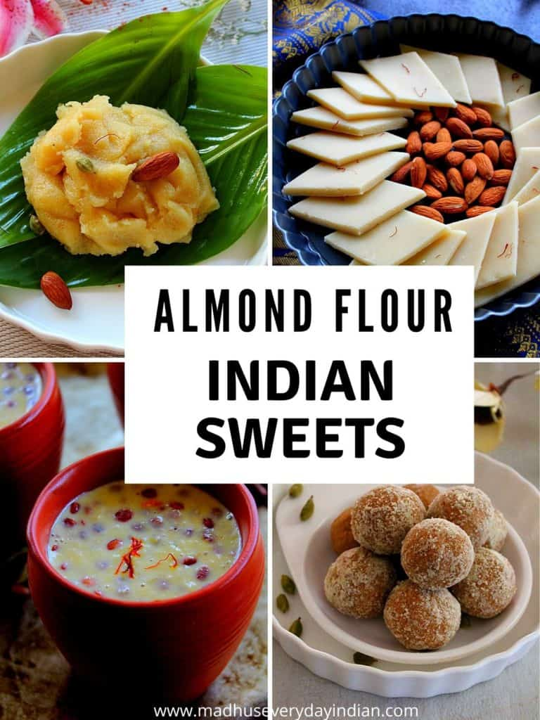 collage of indian desserts made with almond flour