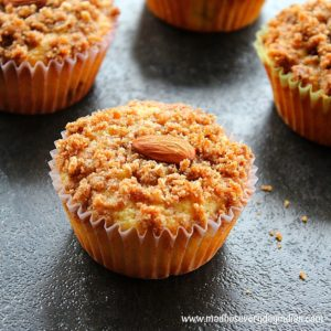 almond flour topped with streusel topping and whole almonds