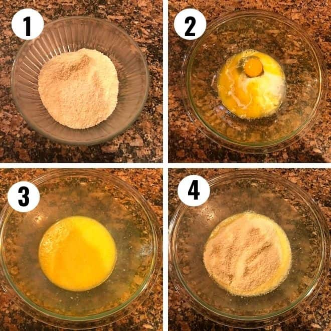 almond flour is mixed with sugar, milk and eggs