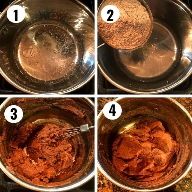 ragi flour is added to the boiling water, salt and oil and mixed well