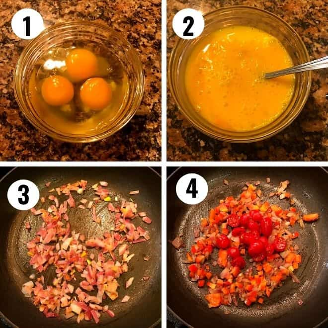 1& 2 - eggs are added to a glass bowl and whisked, 3 & 4 - onion, green chili sauteed and tomato added to he sauteed onion