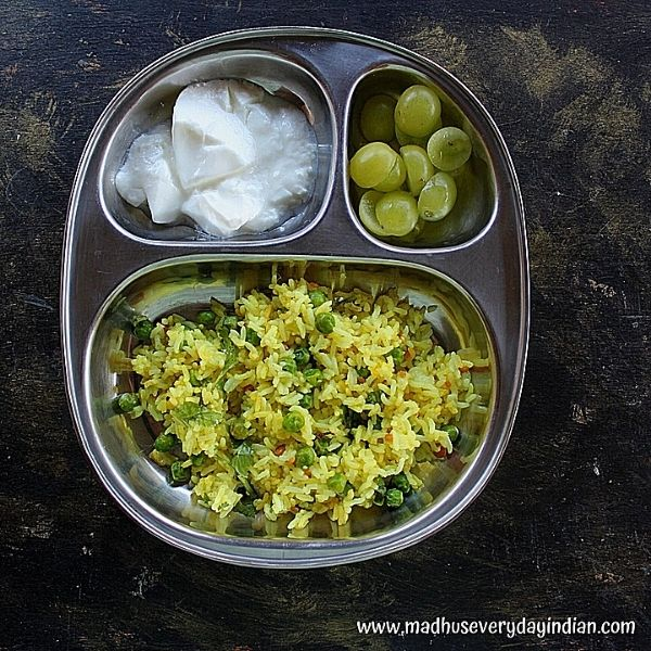 lemon rice with green peas, yogurt and grapes