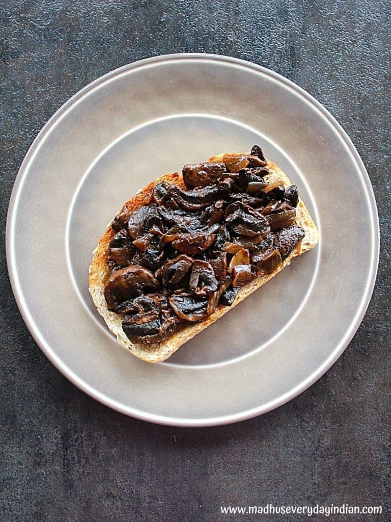 sauteed mushroom with balsamic vinegar served on a  crusty bread