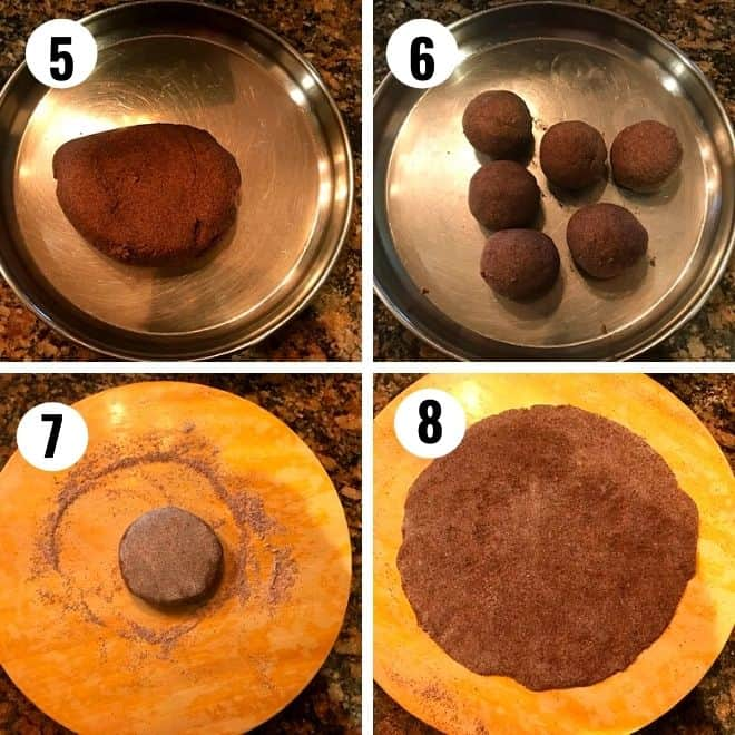 soft ragi dough is made to round balls and flattened to a thin disc