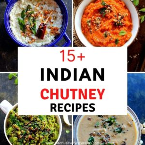 collage of 4 pics of indian chutney recipes