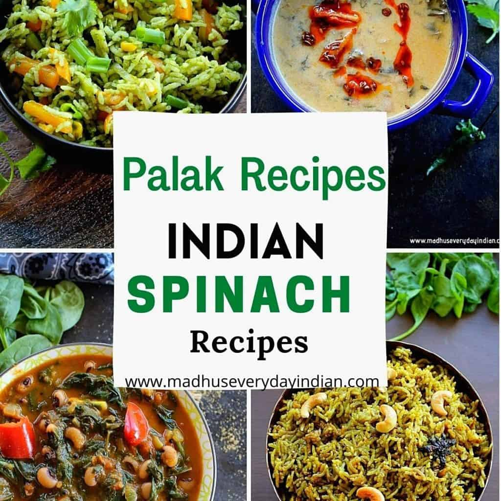 4 picture collage of palak recipes