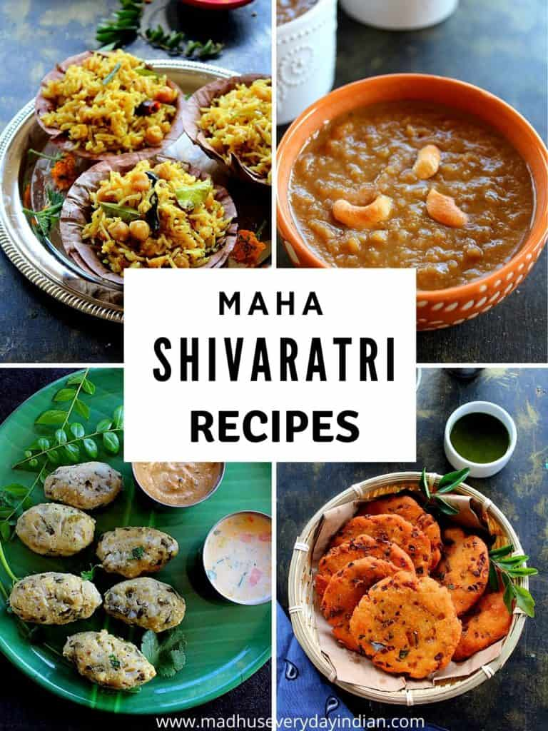 collage of recipes for shivaratri