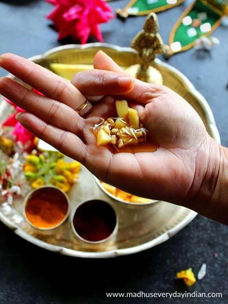 ugadi pachadi served in the palm.