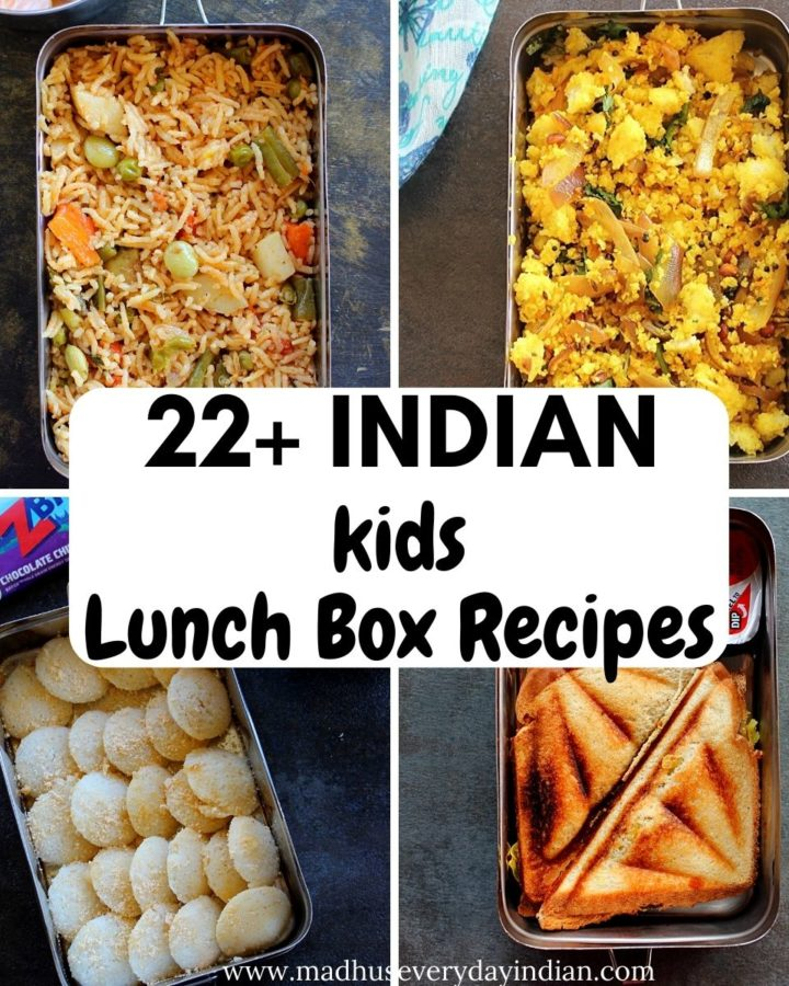 collage of indian kids lunch box recipes, it has 4 pictures.