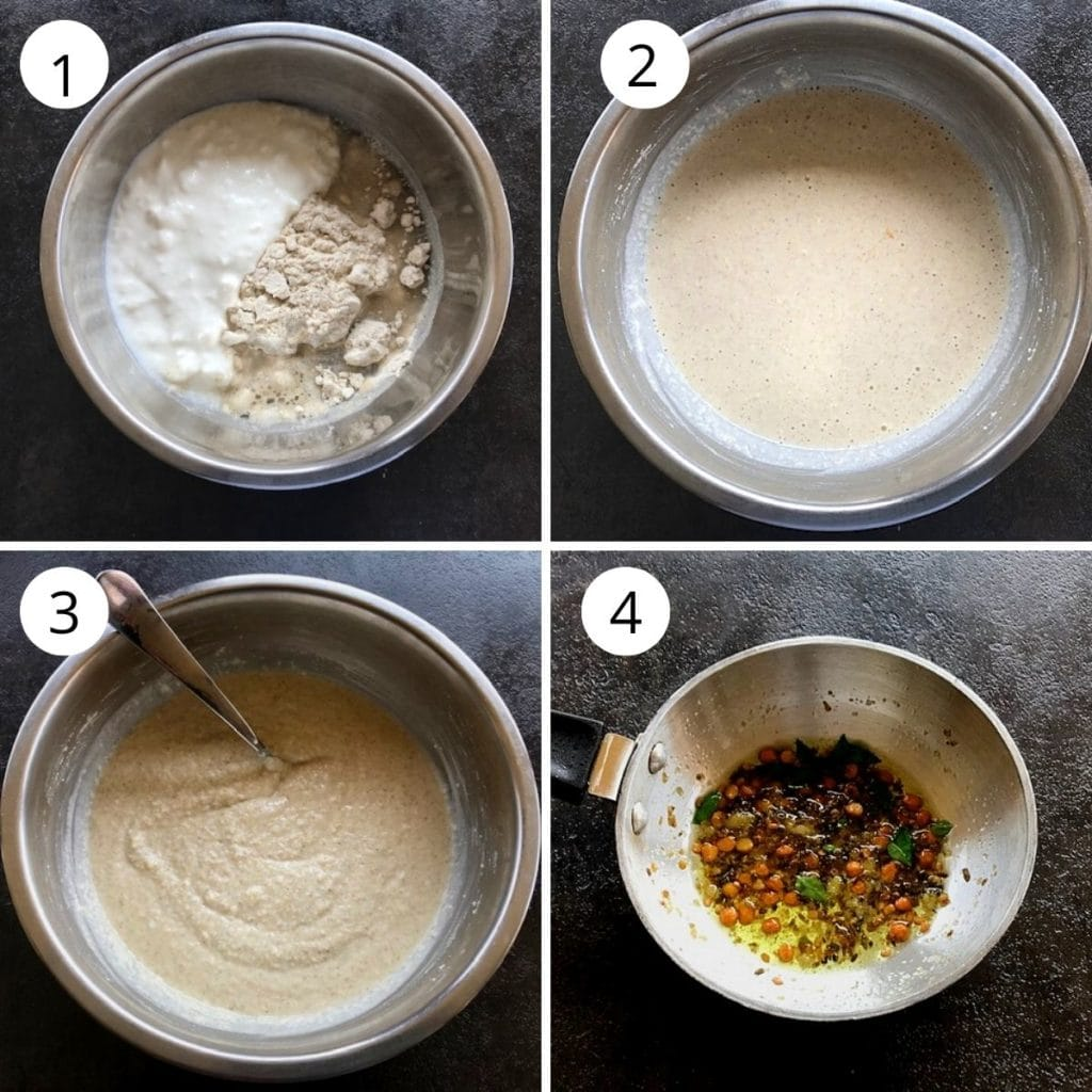 jowar, rava and yogurt mixed and set a side for 20 minutes. A tempering is made to be added to the jowar rava mixture.
