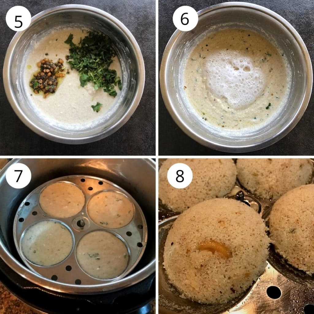 temepring added to the jowar rava mixture and steamed for 10 minutes until done.