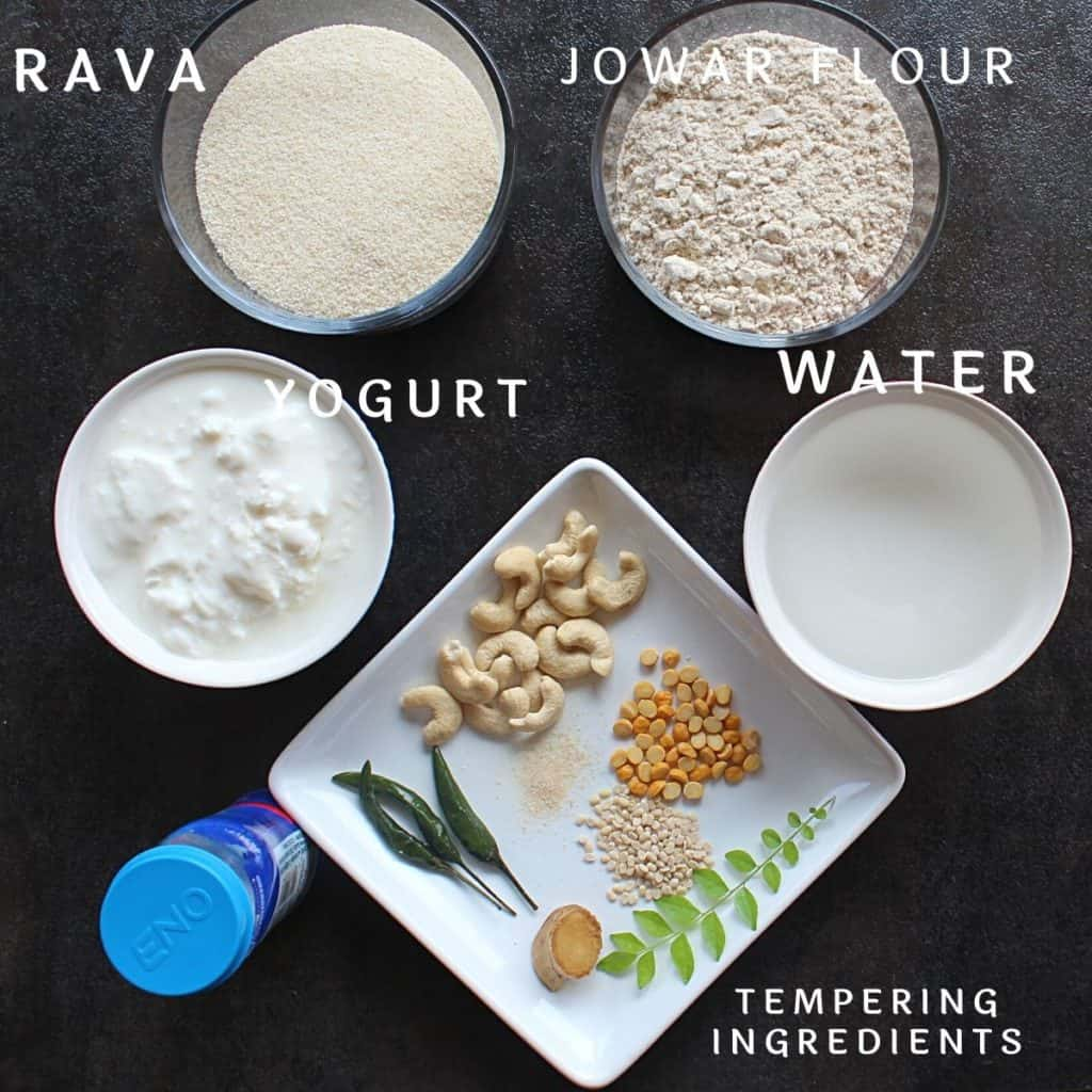 picture of the ingredients needed to make instant jowar idli